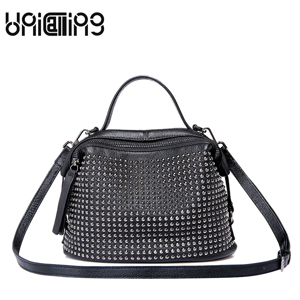 Fashion brand rivet genuine leather handbags woman All-match high-end mini shoulder bags Zipper cow leather women bag 2017 fashion all match retro split leather women bag top grade small shoulder bags multilayer mini chain women messenger bags