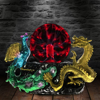 Vintage Dragon Phoenix Statue With Electric Glass Horror Lighting Home Decor Plasma Ball Figurine Novelty Desk Lamp Light