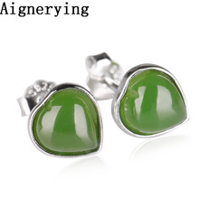 vintage Earrings With Gift Box 925 silver Certificate Natural Green Jade Heart  Jewelry Dangle for Women Girl Jewellery
