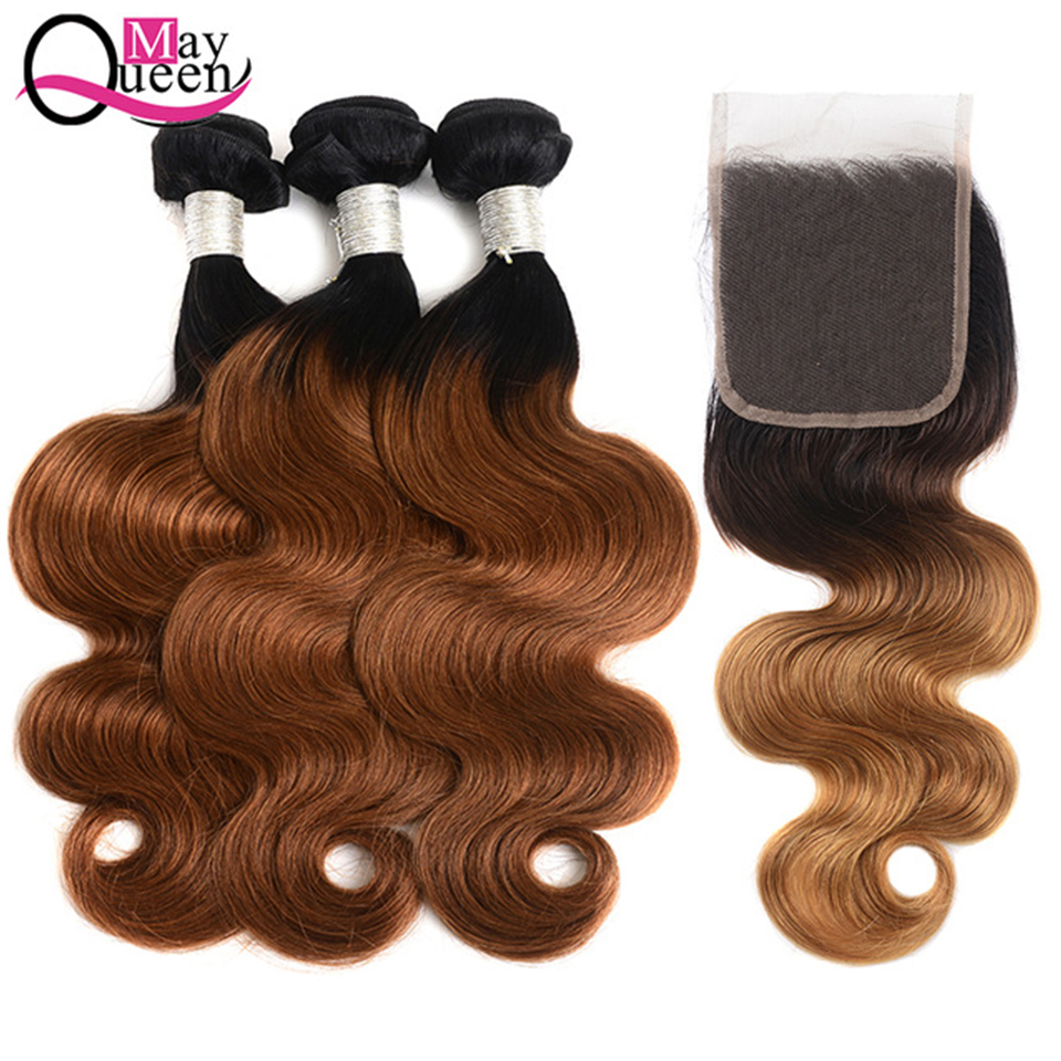 May Queen Hair Ombre Bundles With Closure 3 Ombre Brazilian Body Wave Human Hair Weave Bundles With Closure Remy Hair 1B 30