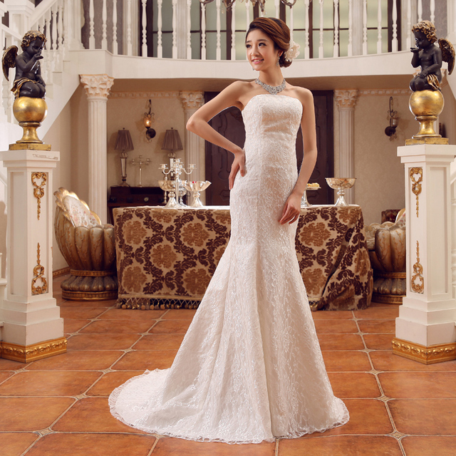 Free Shipping Wedding Dress Fish Tail Slim Lace Trailing Bridesmaid Evening All
