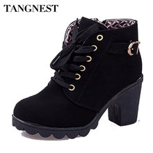 Tangnest Brand Women Boots Fashion PU Leather Women Ankle Boots Ladies High Heel Shoes Autumn Casual Lace up Pumps Woman XWX367
