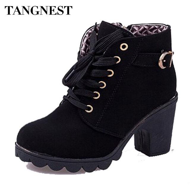 Tangnest marca mujeres botas de moda de cuero de la pu botas tobillo de mujer señoras Zapatos De Tacón Alto de Otoño Casual Lace up Bombas Mujer XWX367