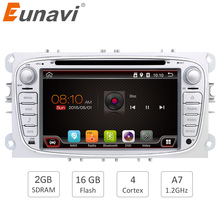 "Eunavi 2 din 7"" Android 6.0 Quad Core Car DVD Player Radio GPS Navigation for Ford Focus Galaxy with Audio Stereo wifi 1024*600"
