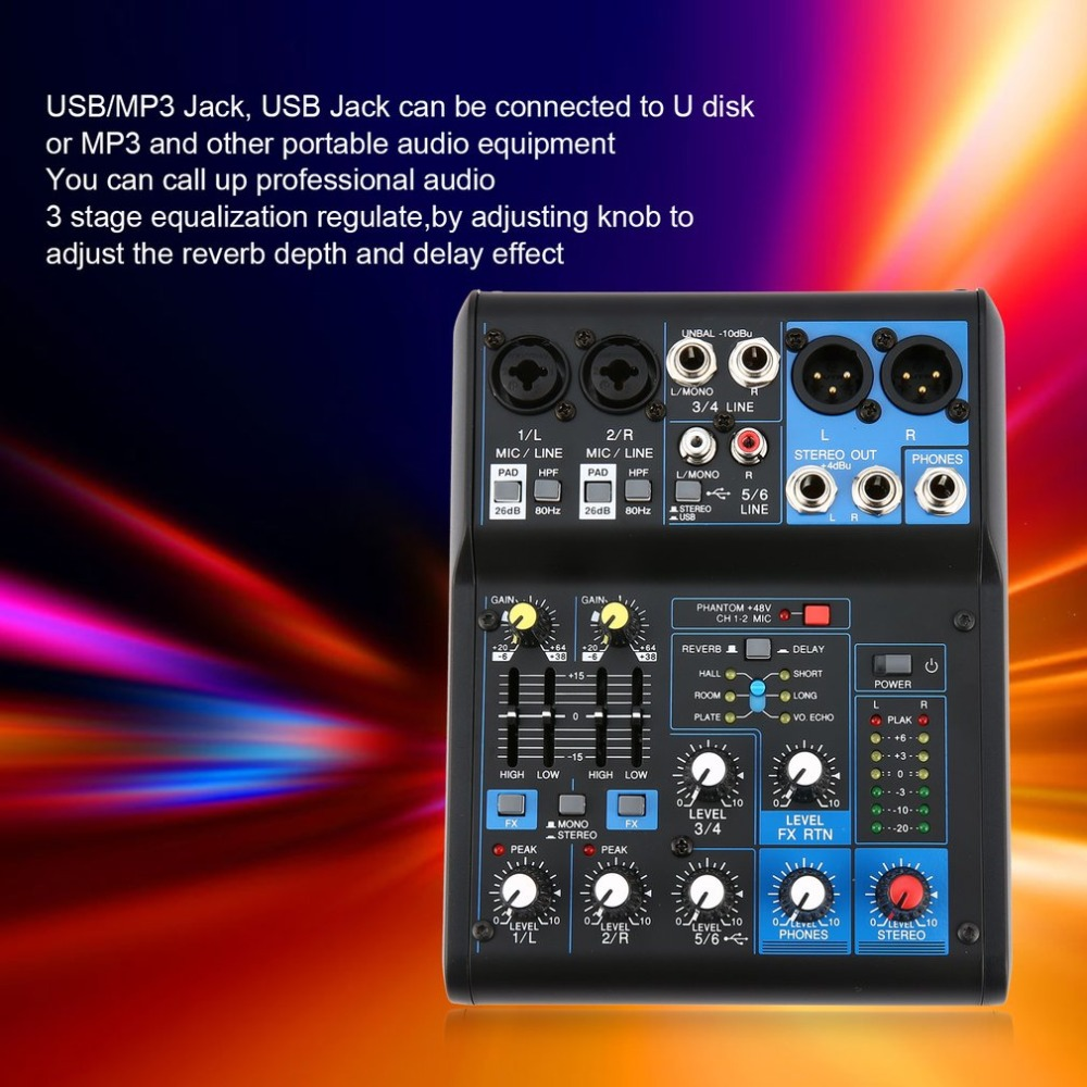 Power Audio DJ Mixer EU Plug 4 Channel Professional Power Mixing Amplifier USB Slot 16DSP +48V Phantom Power for Microphones leory mini karaoke audio mixer 4 channel microphone digital sound mixing amplifier console built in 48v phantom power with usb