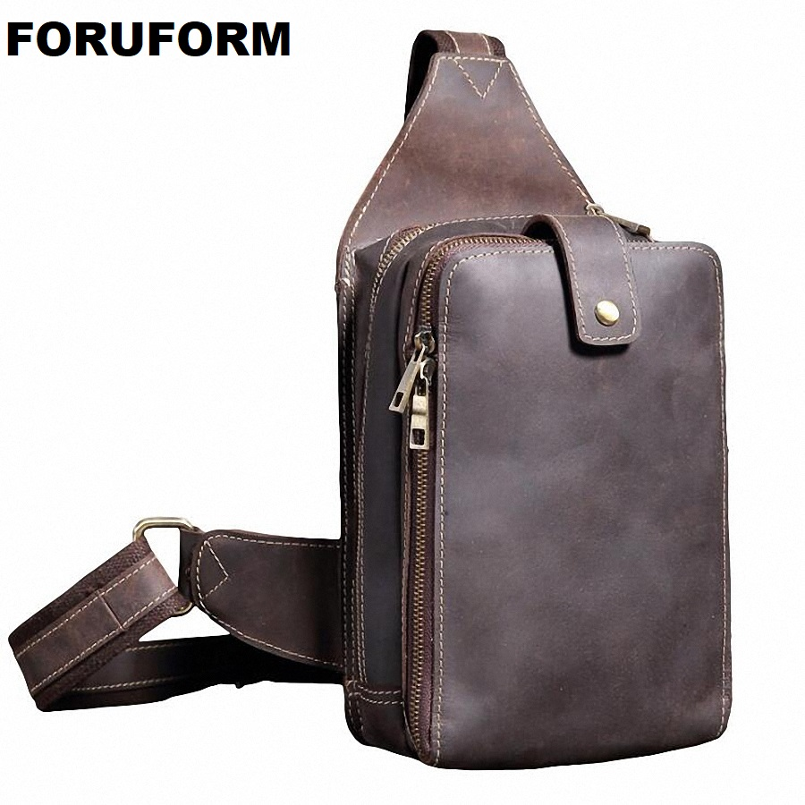 Men Chest Pack Single Shoulder Strap Back Bags Real Leather Travel Men Crossbody Bags Vintage Genuine Leather Chest Bag LI-2160 high quality men first layer cowhide vintage sling chest back pack travel riding crossbody shoulder bag new