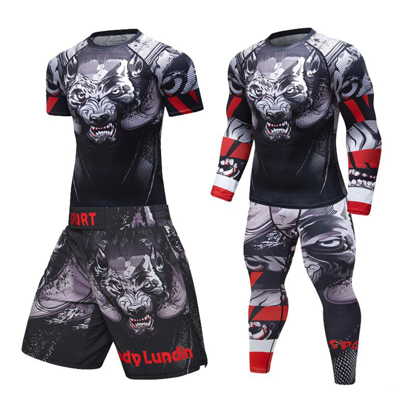 Raglan Sleeve New UFC Brazilian Jujutsu MMA Launches Compressed Rashguard Men's T-shirt VS PK Sport 3D Fitness Bodysuit Body Bui