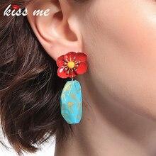 KISS ME Earrings 2019 Newest Irregular Synthetic Stone Iron Flower Drop Earrings Women Fashion Jewelry kiss me brand statement earrings 2017 geometric synthetic stone alloy vintage earrings for women fashion jewelry