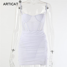 Articat Mesh Transparent Sexy Women Summer Dress 2020 Spaghetti Strap Striped Bodycon Party Dress Women Casual Short Club Dress