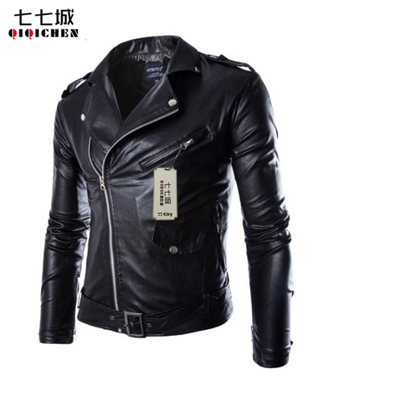Leather Jacket for Man Fashion Brand Coat Male Biker Jacket Homme Jaqueta Couro Masculina PU Leather Mens Punk Veste 2 Colors