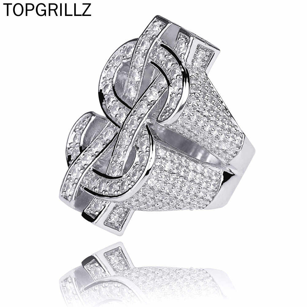 TOPGRILLZ Fashion Rock Iced Out Bling Gold Silver Color US Dollar Sign Rings AAA Cubic Zircon Hip Hop Ring for Men Jewelry