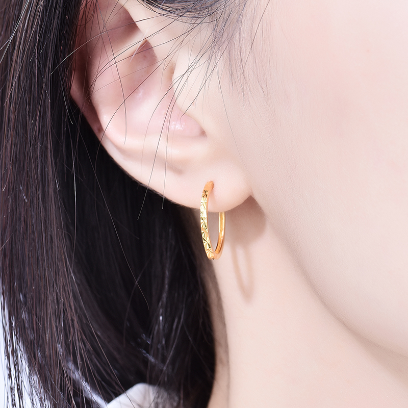 Enzo Real 18K Gold Earring Fine Jewelry Women Miss Girls Gift Party Female Hoop Earrings Solid Hot Sale New Good Trendy real 18k gold jewelry heart earring women miss girls gift party female ear wire drop earrings solid hot sale new good trendy