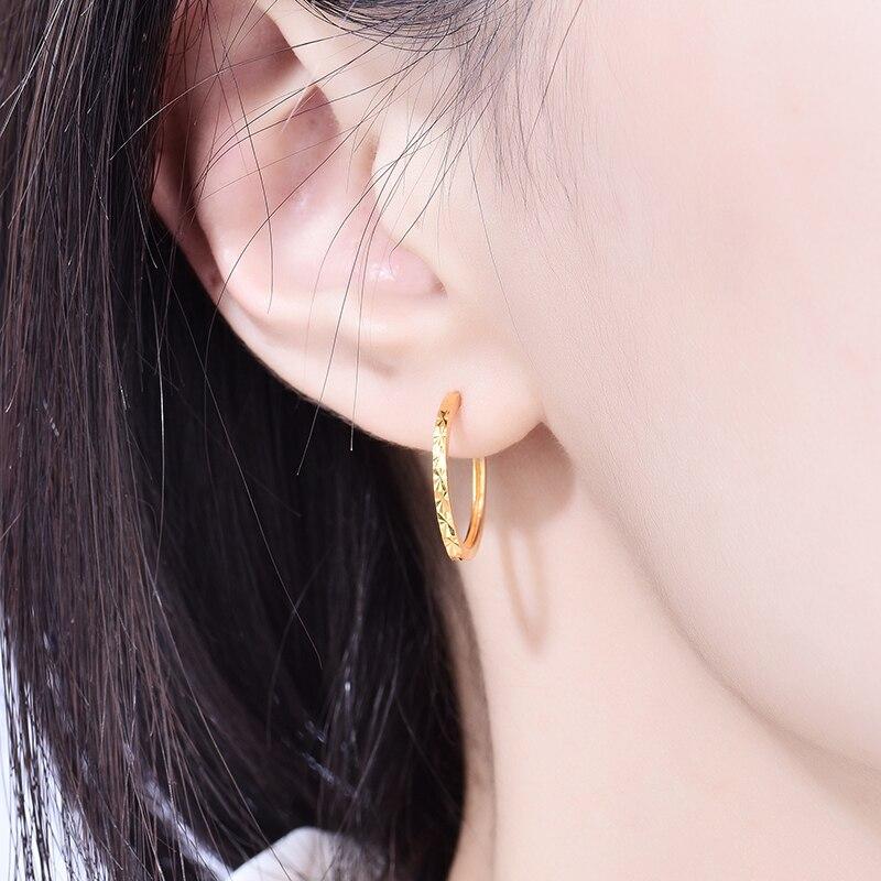 Enzo Real 18K Gold Earring Fine Jewelry Women Miss Girls Gift Party Female Hoop Earrings Solid Hot Sale New Good Trendy