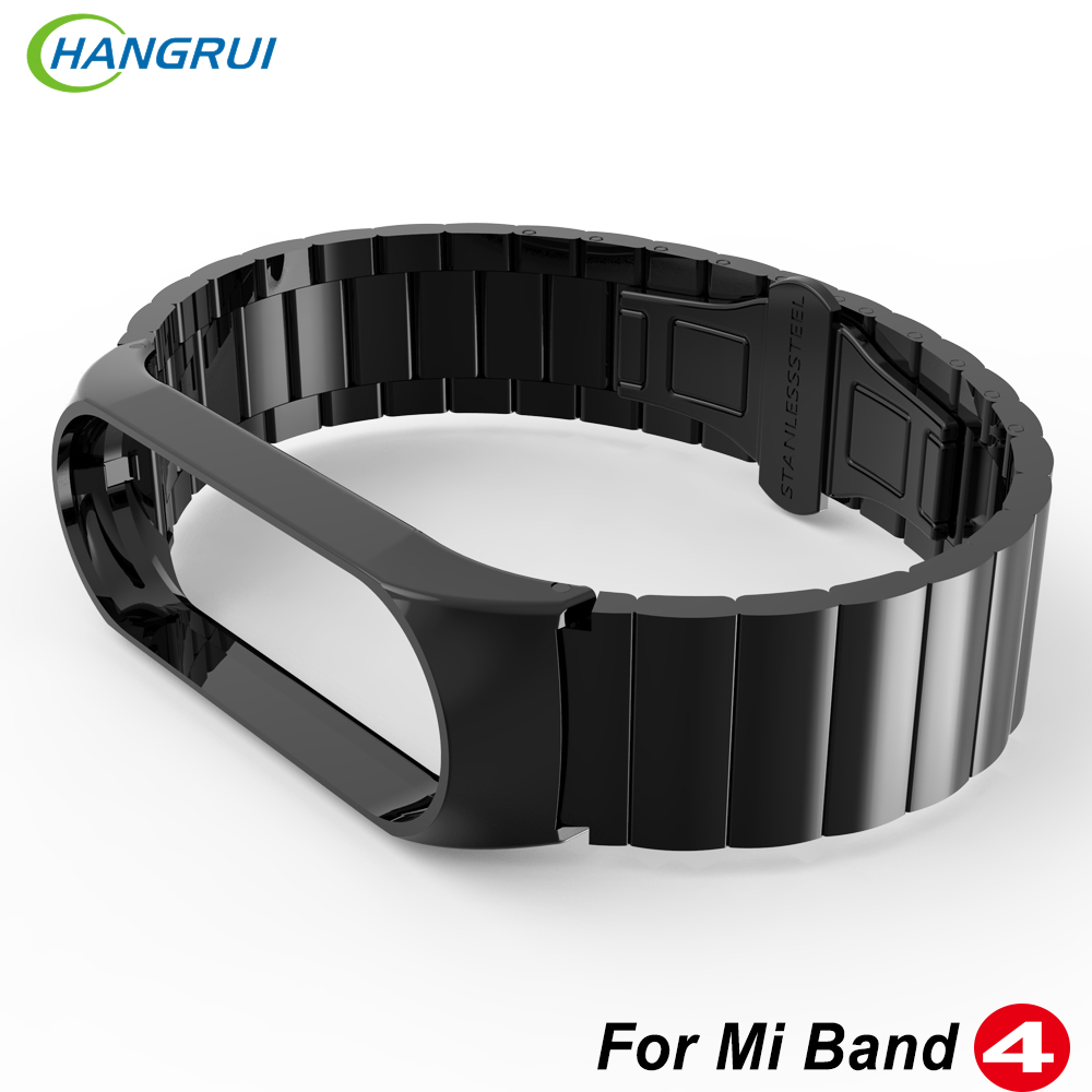Hangrui Mi Band 4 Strap Metal Bracelet For Xiaomi Mi Band 4 Strap Screwless Stainless Steel MiBand 4 Band4 Wrist Smart Wristband