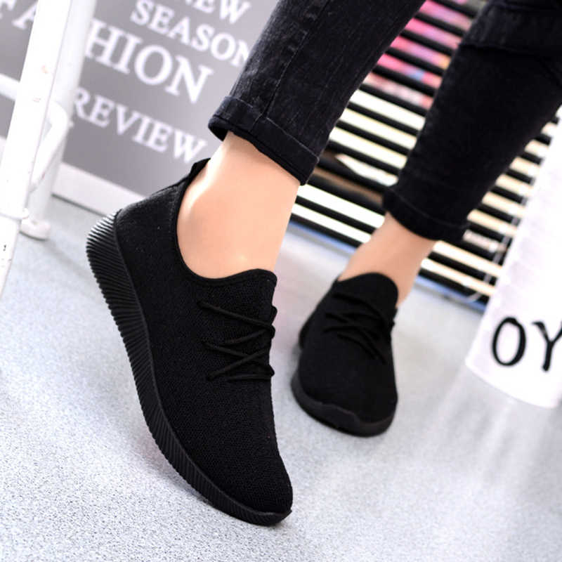 2019 обувь женские кроссовки Повседневная обувь черная сетка обувь слипоны на плоской подошве женские chaussures femme Zapatos De Mujer