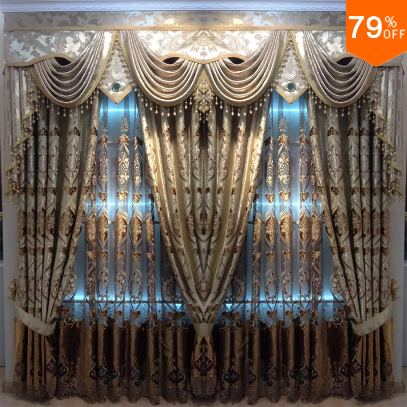 Fit Window 2.5 To 3 Meter Curtains Golden Bronw Coffee Velvet Sew Ultimate Embroidery Curtain Living Rooms The Curtain For Hall