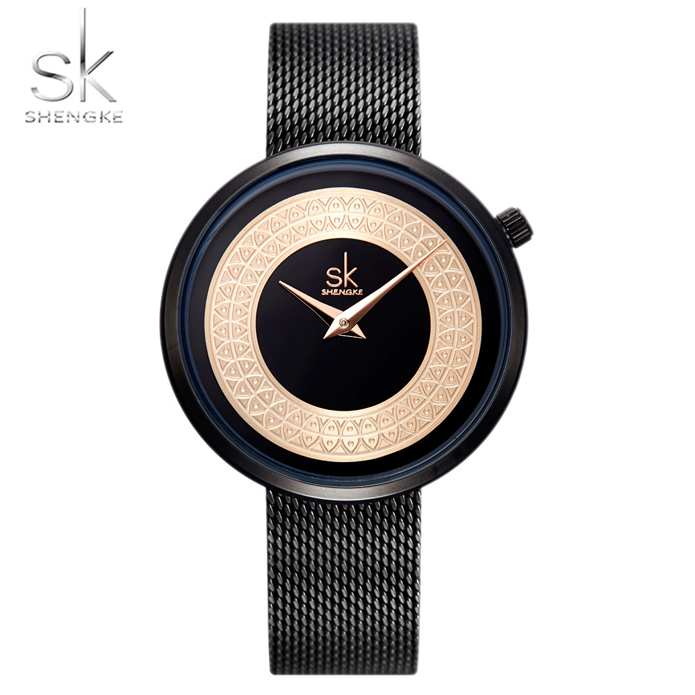 Simple Minimalism Black Gold Women Wristwatch Fashion Fish Round INS Popular Lady Watch Casual Party Gift Clock SK Waterproof