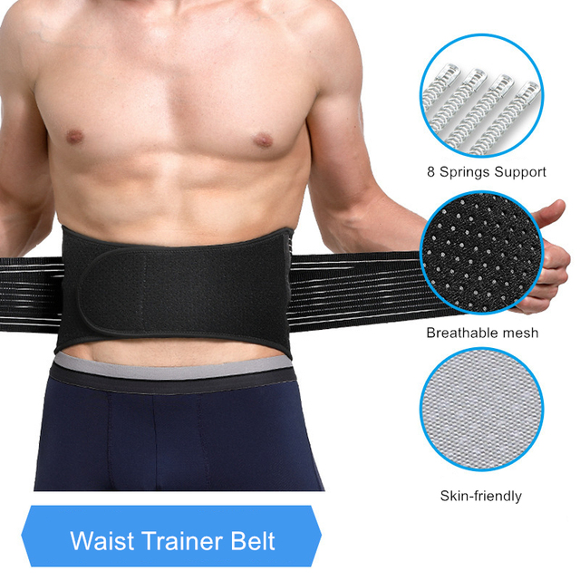 Unisex Waist Trimmer Gym Sports Fitness Lumbar Belt Brace 8 Stable Splints Support with 4 Adjustable Straps Weight Loss Shaper