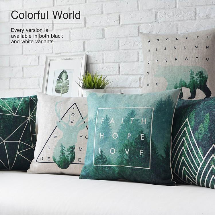 Throw Pillows For Dark Green Sofa : dark green Deer pillow ,Nordic geometric Pillow cushion ,Linen pillowcase,sofa cushions home ...