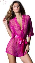 Hot Sexy Lingerie Satin Lace pink Kimono Intimate Sleepwear Robe Sexy Night Gown Bathrobes sleepwear evening dress housekeeper