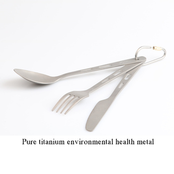 Titanium Tourist Tableware All Polish Camping Cookware cookout Kitchen Utensils Spoon Fork Dishes Tourism Picnic Set 2