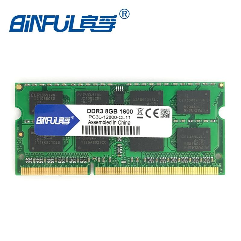 Prix pour Binful D'origine Nouvelle Marque DDR3L 8 GB 1600 MHz PC3-12800 1.35 V basse tension CL11 SODIMM 204pin Mémoire d'ordinateur portable Ram pour Ordinateur Portable