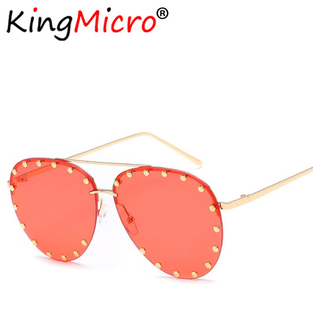 7f4def8652 Fashion Trend Rimless Rivet Oval Sunglasses Personality Metal Women Green  Brown Red Gold Frame Frog Sun