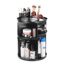 플라스틱 360 회전 메이크업 Organizers Comestic Storage Box Organizer 여성용 책상 메이크업 Organizer Bathroom Makeup Holder