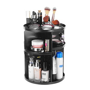 Image 1 - Plastic 360 Rotating Makeup Organizers Comestic Storage Box Organizer Women Desk Make Up Organizer Bathroom Makeup Holder