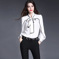 New Fashion luxury High end women's shirts Blouse butterfly bow tie Office Lady elegant Coat Black White Solid Silk Formal Tops