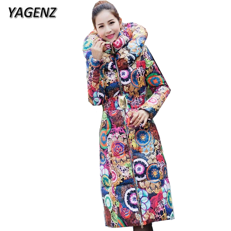 YAGENZ 2017 Fashion New Winter Jacket Women Slim  Lady Parkas Warm Long Outerwear High Quality Printed Thick Cotton Hooded  Coat 2017 new army green winter women s jacket coat black thick warm women parkas coat high quality parkas cotton hooded outerwear
