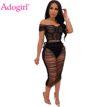 Adogirl Side Lace Up Sheer Mesh Ruched Midi Dress Women Sexy Short Sleeve Off Shoulder Bodycon Night Club Party Vestidos