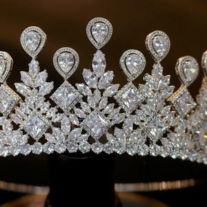 Image 4 - ASNORA גדול חתונה כלה הכתר אלגנטי Zincons שיער מצנפות כלה תכשיטי כתר אביזרים