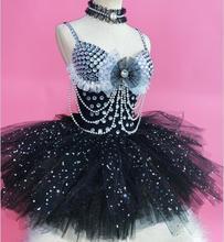ab173eb529bb 2019 Sexy Silver Rhinestones Black Leotard Costume female singer DJ DS dance  Wear stage Shining Tutu