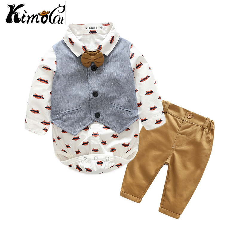 Kimocat new baby boy cartoon suit of baby and child gentlemans vest shirt three pieces of suit