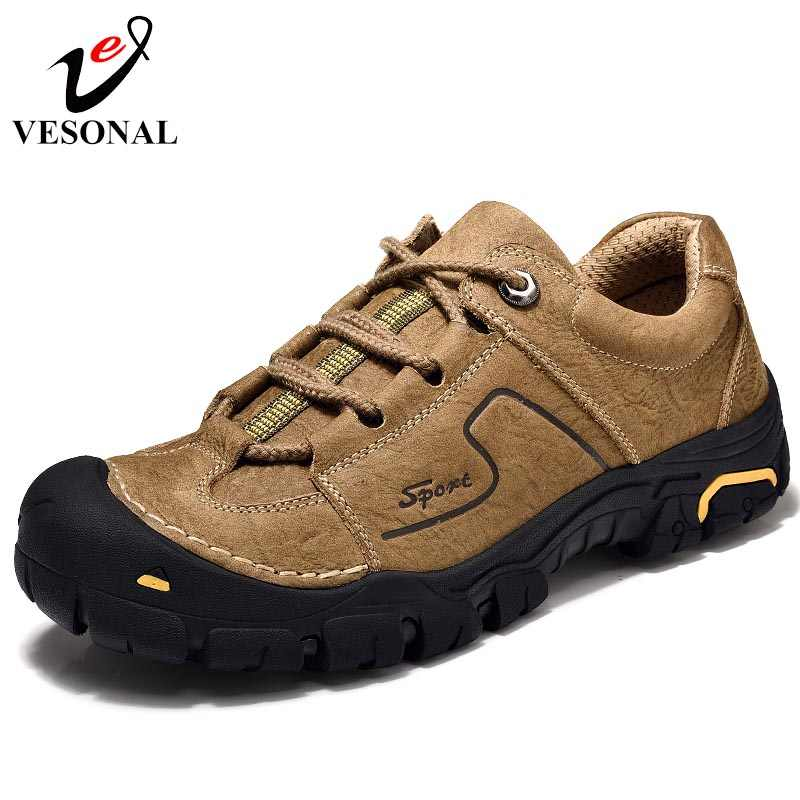 VESONAL Genuine Leather Casual Male Shoes Adult Footwear For Men New Classic Cargo High Comfort Quality Designer Safety Sneakers