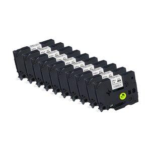 10-P совместимая tz этикетка, термоусадочная трубчатая лента, HSe-221 8,8 мм 1,5 м, черная, белая, ламинированная кассета для сенсорного принтера Brother ...