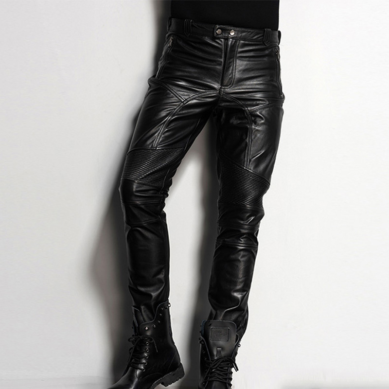 Mens Motorcycle PU Leather Punk Zipper Skinny Slim Leg Biker Pants Trousers Size