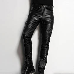 Для мужчин кожаные брюки тонкий кожаный тощий Байкер Брюки для девочек мотоциклетные панк-рок Брюки для девочек Тесная готическая кожаные