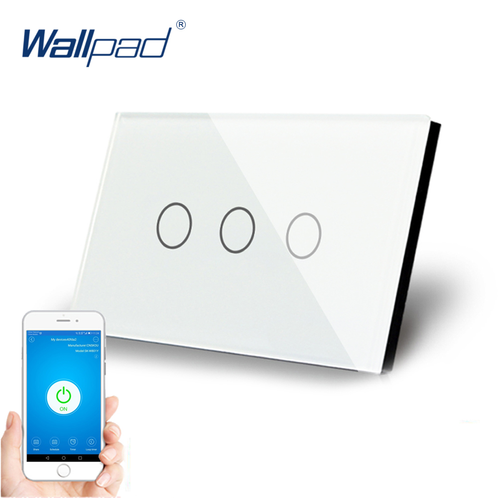 AU US 3 Gang WIFI Control Touch Switch Wallpad Support Phone App Alexa Google home IOS Android 3 Gang AU WIFI Wall Switch Panel image