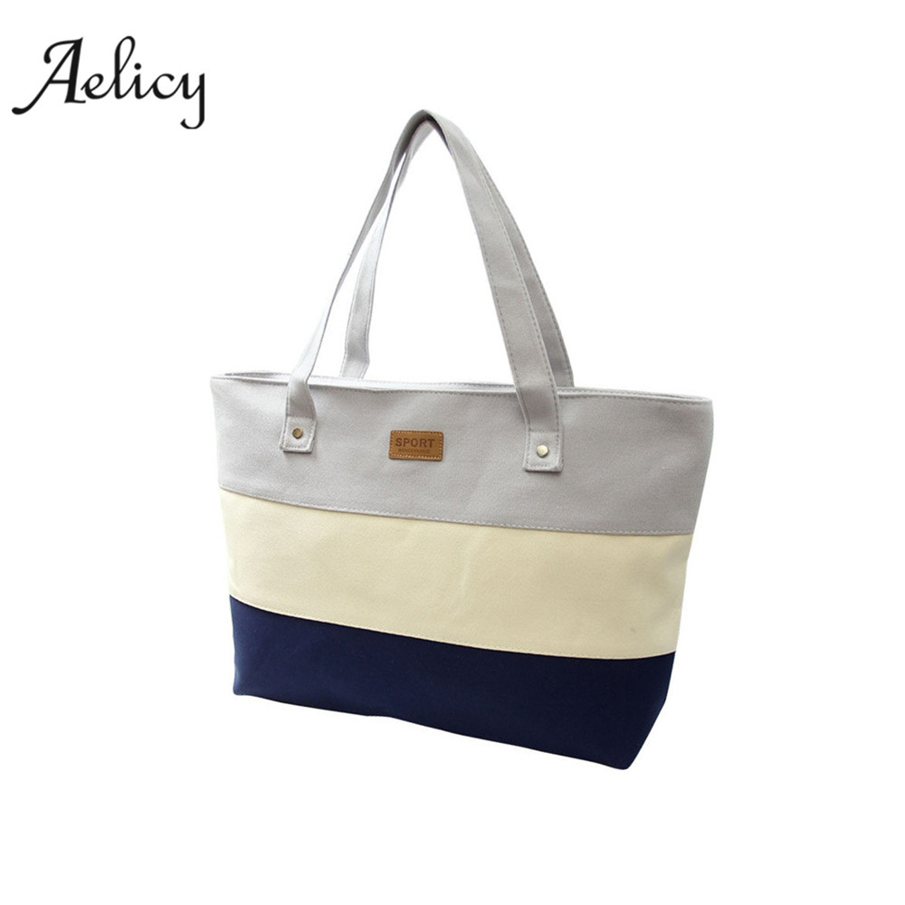 купить Aelicy Women Canvas Handbags Shoulder Messenger Bags Ladies Hand Canvas Big Beach Tote Bag Female Zipper Main fashion Handbag по цене 311.43 рублей