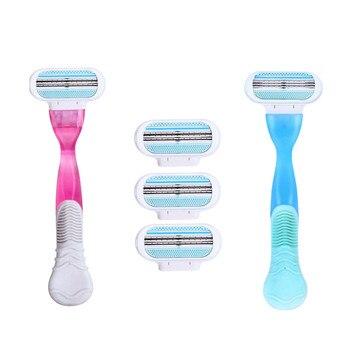 1 Conjunto de Lâminas de Barbear Beleza Lâmina de Barbear de Barbear Para As Mulheres Rosto e Corpo Três Lâminas de Barbear Reta Cabeça 1