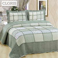 CLORIS High Quality Cotton Bedspread Fashion Quilted Pillowcase On The Bed Comforter Blanket King Queen Size Coverlet Bedcover