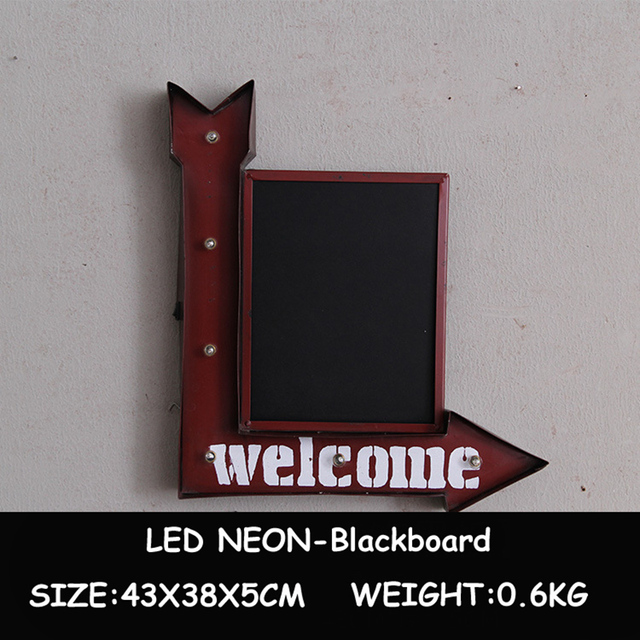 Led Neon Light Blackboard Vintage Metal Plates Wall Hanging Decorative Advertising Signboard For Restaurant Pub Bar