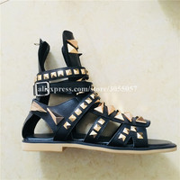 Summer High TOP Golden Rivets Gladiator Sandals Luxury Man Shoes real Picture genuine Leather dragon flats brand Handmade Shoes