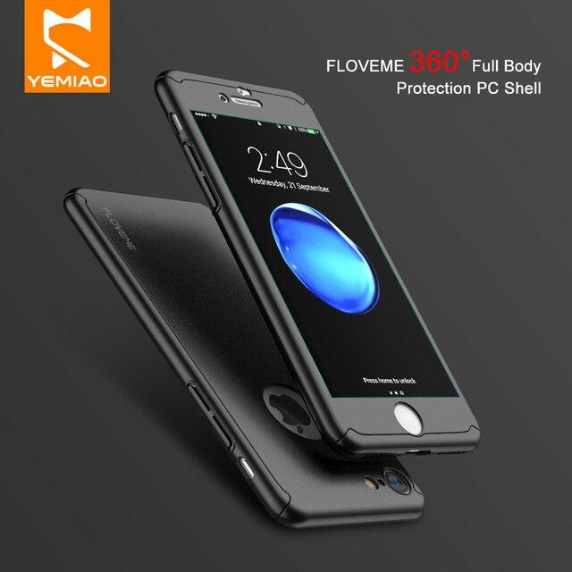 Luxo Caso a Proteção Integral Para o iphone 7 6 6 S Plus 360 Graus Armadura PC Cobertura da Tampa De Vidro Temperado Para iPhone X i 10 5 5S SE 7
