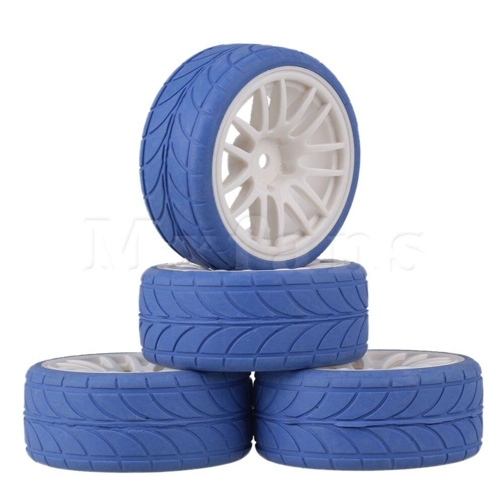 Mxfans 4 x RC 1:10 On Road Car White 14 Spoke Plastic Wheel Rim + Blue Arrow Rubber Tyre mxfans 4 x rc1 10 rock crawler black alloy 7 spoke wheel rim simulation rubber tyre
