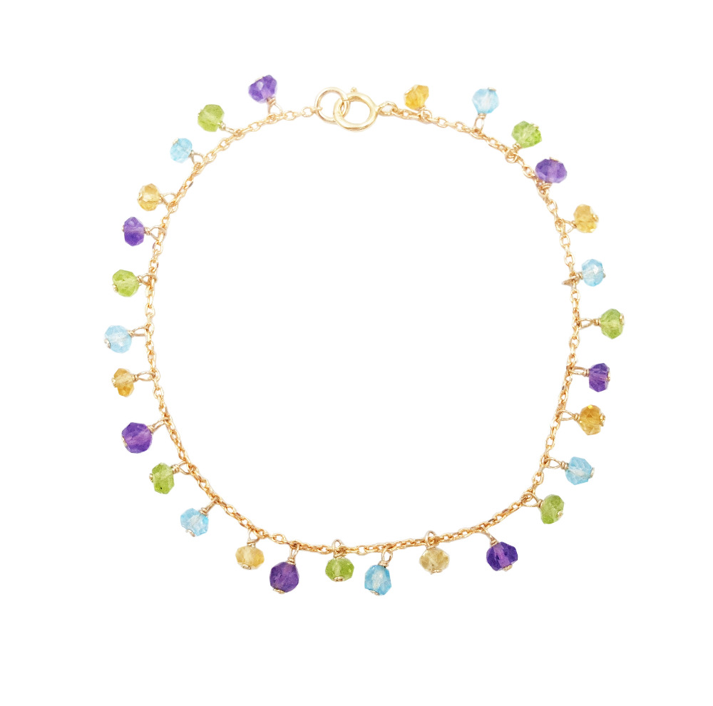 Natural Stone Amethysts,Citrines,Topazs,Peridots 925 sterling silver Gold Color Handmade Knitting Shining Bracelet 925 sterling silver shining multiwire shaped women s bracelet