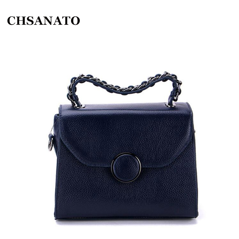 CHSANATO Brand 2018 New Vintage Casual First Layer Cow Leather Women Handbags Hotsale Ladies Small Flap Shoulder Messenger Bags new women vintage embossed handbag genuine leather first layer cowhide famous brand casual messenger shoulder bags handbags