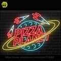 Sinal de Néon personalizado PIZZA PLANET Neon Lâmpadas sala de Recreação Tubo de Vidro Real Artesanal Profissional Produzir Noite Lâmpada 31X24 polegadas